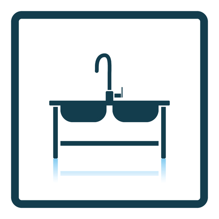 double sink: Double sink icon. Shadow reflection design. Vector illustration.