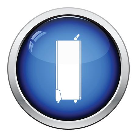 lighting button: Icon of studio photo light bag. Glossy button design. Vector illustration.