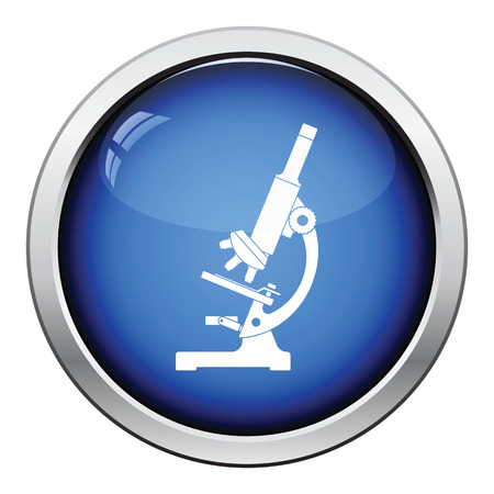Icon of chemistry microscope. Glossy button design. Vector illustration. Çizim
