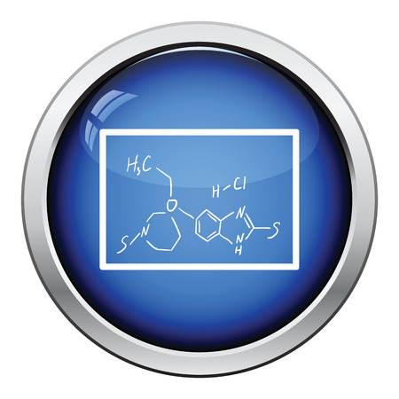 hexa: Icon of chemistry formula on classroom blackboard. Glossy button design. Vector illustration.
