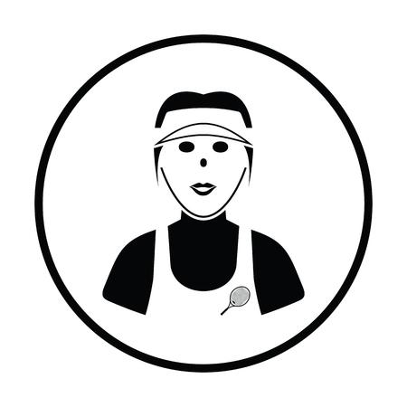 athletes: Tennis woman athlete head icon. Thin circle design. Vector illustration. Illustration