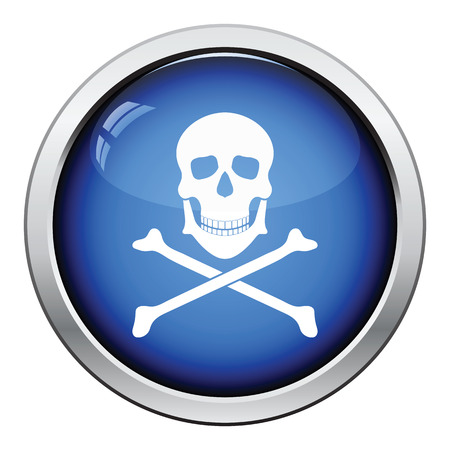 round button: Icon of poison from skill and bones. Glossy button design. Vector illustration.