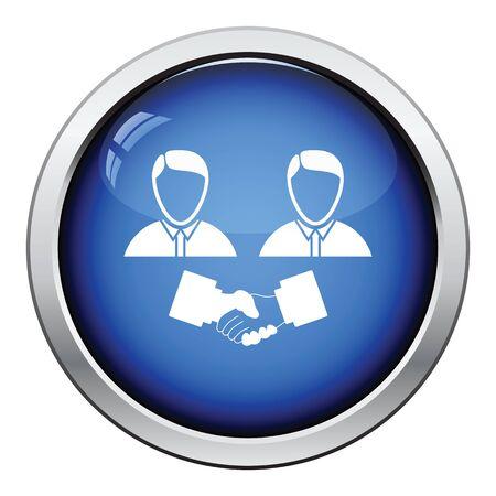 acknowledgment: Hand shake icon. Glossy button design. Vector illustration. Illustration