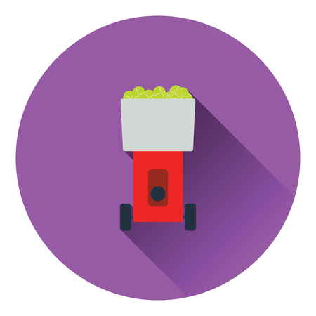 tennis serve: Tennis serve ball machine icon. Flat color design. Vector illustration.