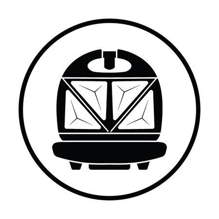 bread maker: Kitchen sandwich maker icon. Thin circle design. Vector illustration.