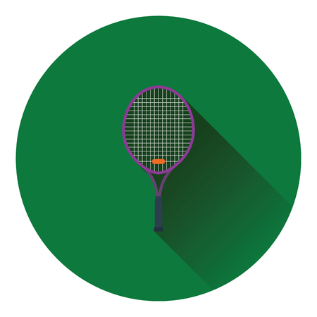 individual color: Tennis racket icon. Flat color design. Vector illustration.