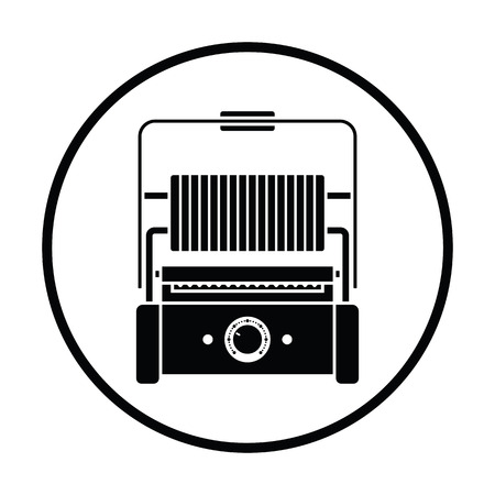 open sandwich: Kitchen electric grill icon. Thin circle design. Vector illustration.