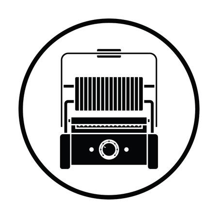 bread maker: Kitchen electric grill icon. Thin circle design. Vector illustration.