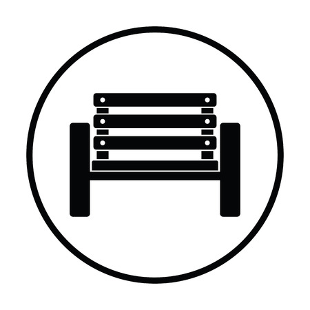 wood chair: Tennis player bench icon. Thin circle design. Vector illustration.