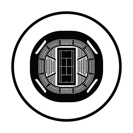 grandstand: Tennis stadium aerial view icon. Thin circle design. Vector illustration.