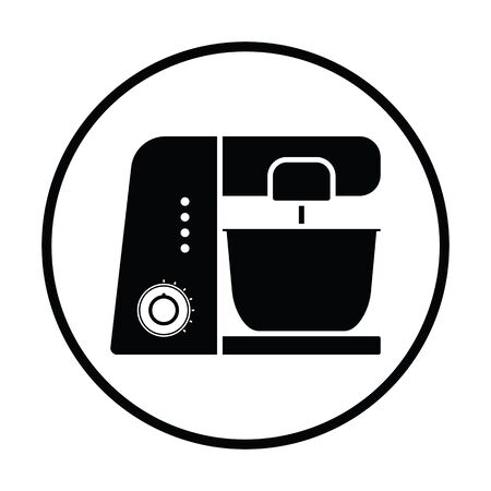 food processor: Kitchen food processor icon. Thin circle design. Vector illustration.