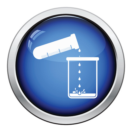 pour: Icon of chemistry beaker pour liquid in flask. Glossy button design. Vector illustration.
