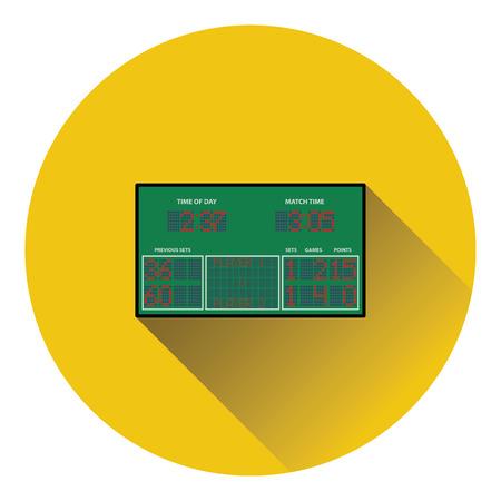 off the record: Tennis scoreboard icon. Flat color design. Vector illustration.