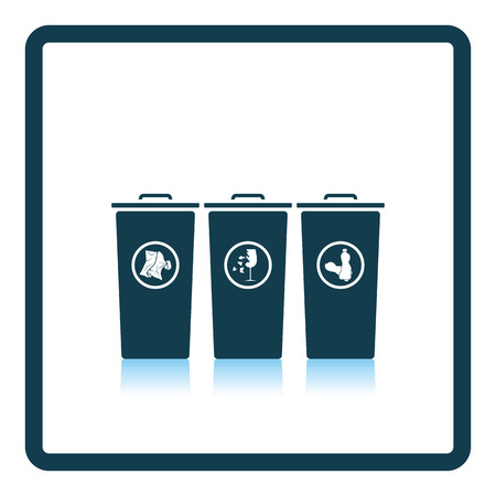 segregate: Garbage containers with separated trash icon. Shadow reflection design. Vector illustration. Illustration