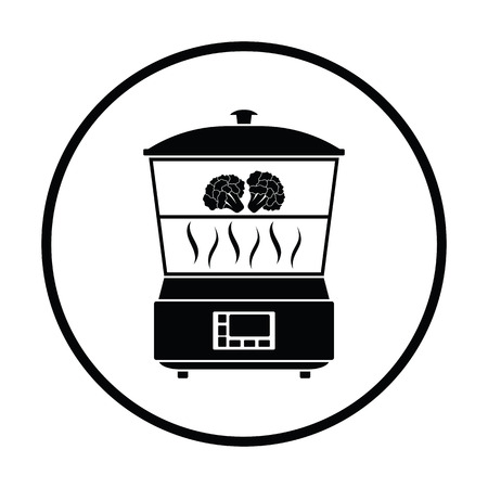 steam cooker: Kitchen steam cooker icon. Thin circle design. Vector illustration.