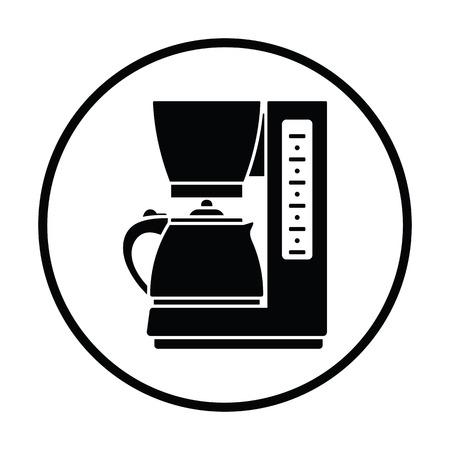 coffee icon: Kitchen coffee machine icon. Thin circle design. Vector illustration.
