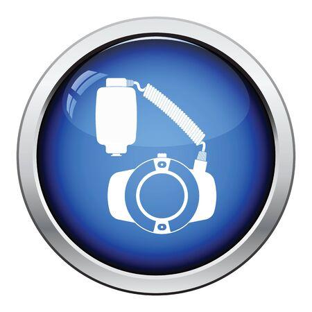 alone person: Icon of portable circle macro flash. Glossy button design. Vector illustration.