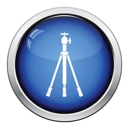 tripods: Icon of photo tripod. Glossy button design. Vector illustration.