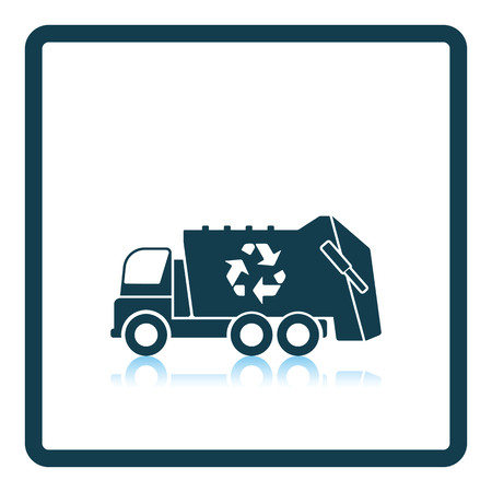 recycle bin: Garbage car with recycle icon. Shadow reflection design. Vector illustration.
