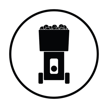 serve: Tennis serve ball machine icon. Thin circle design. Vector illustration. Illustration