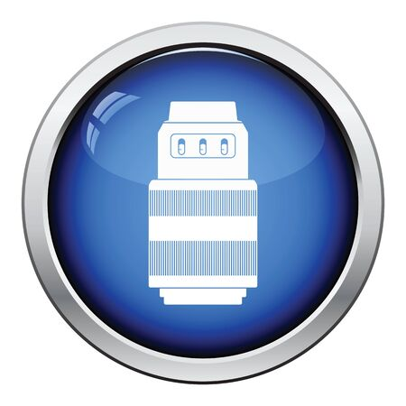 stabilizer: Icon of photo camera zoom lens. Glossy button design. Vector illustration. Illustration