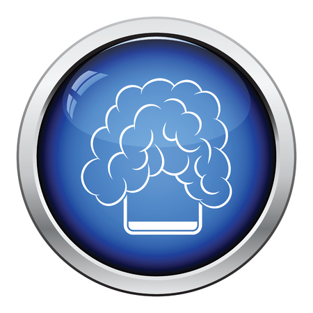 glass button: Icon of chemistry reaction in glass. Glossy button design. Vector illustration.