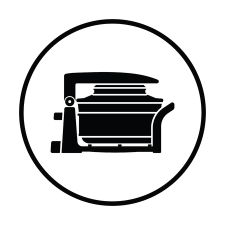 convection: Electric convection oven icon. Thin circle design. Vector illustration. Illustration