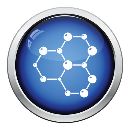 hexa: Icon of chemistry hexa connection of atoms. Glossy button design. Vector illustration.