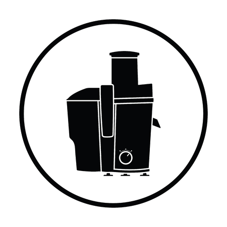 juice extractor: Juicer machine icon. Thin circle design. Vector illustration.