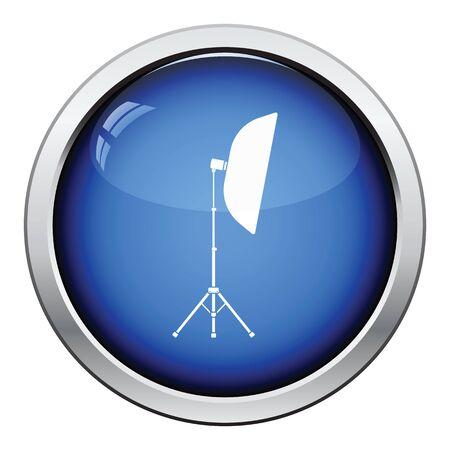 light  glossy: Icon of softbox light. Glossy button design. Vector illustration. Illustration