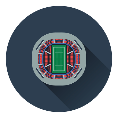 grandstand: Tennis stadium aerial view icon. Flat color design. Vector illustration.