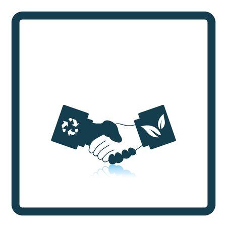 manos estrechadas: icono de apretones de manos ecol�gica. dise�o de la sombra reflexi�n. Ilustraci�n del vector.