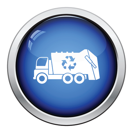 utilize: Garbage car recycle icon. Glossy button design. Vector illustration.