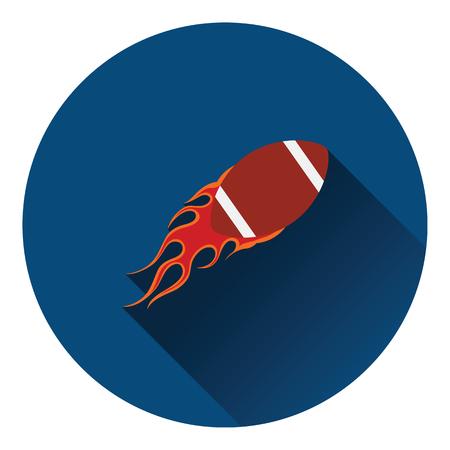fire ball: American football fire ball icon. Flat color design. Vector illustration. Illustration