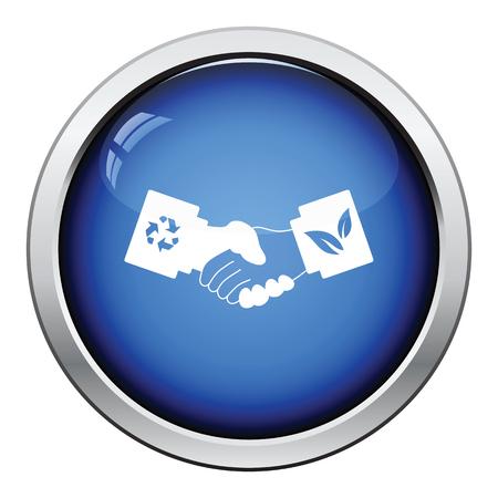 manos estrechadas: icono de apretones de manos ecológica. Diseño brillante del botón. Ilustración del vector.