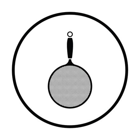 Kitchen colander icon. Thin circle design. Vector illustration.