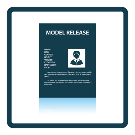 model release: Icon of model release document. Shadow reflection design. Vector illustration.