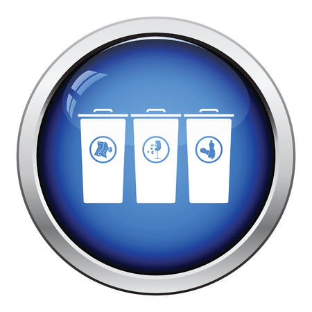segregate: Garbage containers with separated trash icon. Glossy button design. Vector illustration.