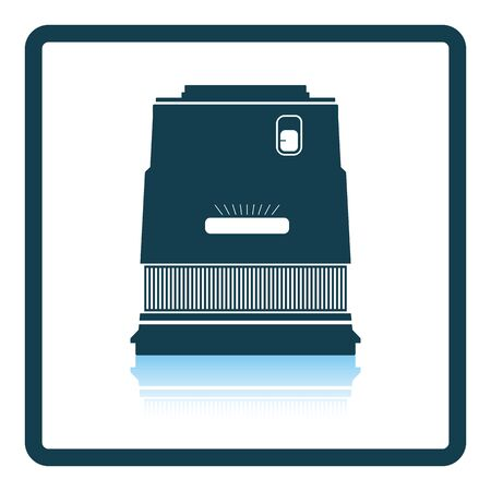 stabilizer: Icon of photo camera wide lens. Shadow reflection design. Vector illustration.
