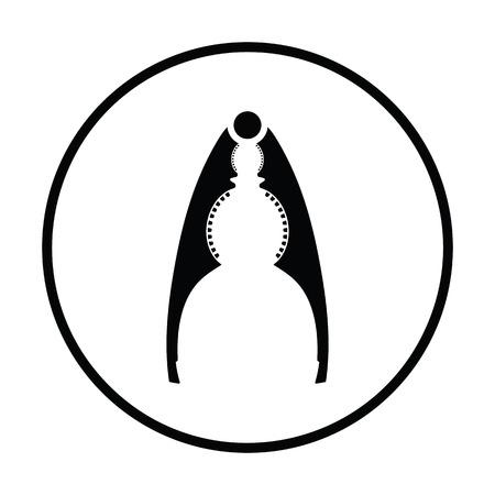 alicates: icono de los alicates cascanueces. diseño del círculo delgada. Ilustración del vector.