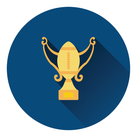 football trophy: American football trophy cup icon. Flat color design. Vector illustration.