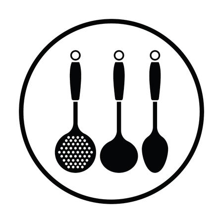 Ladle set icon. Thin circle design. Vector illustration.