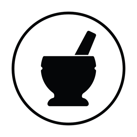 Mortar and pestle icon. Thin circle design. Vector illustration.