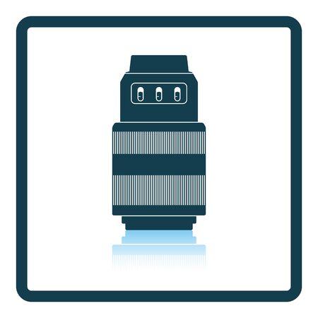 stabilizer: Icon of photo camera zoom lens. Shadow reflection design. Vector illustration. Illustration