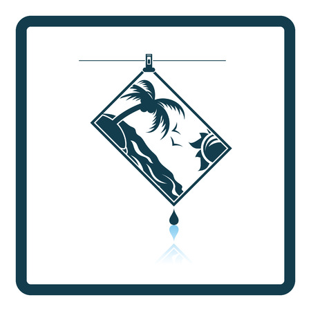 Icon of photograph drying on rope. Shadow reflection design. Vector illustration.