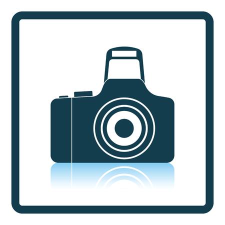 Icon of photo camera. Shadow reflection design. Vector illustration.