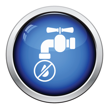 water icon: Water faucet with dropping water icon. Glossy button design. Vector illustration.