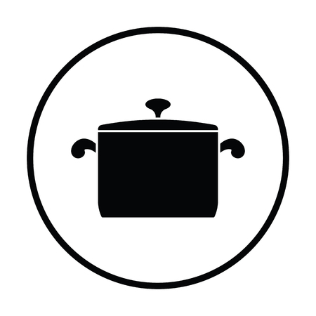 casserole: Kitchen pan icon. Thin circle design. Vector illustration.