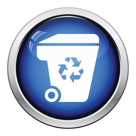 garbage container: Garbage container recycle sign icon. Glossy button design. Vector illustration. Illustration