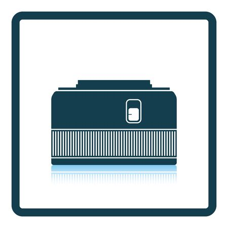 stabilizer: Icon of photo camera 50 mm lens. Shadow reflection design. Vector illustration.